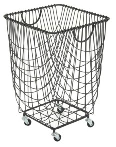 Cosmoliving Large Rectangular Metal Mesh Laundry Basket with Wheels and Handles