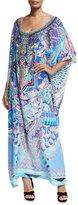 Camilla Round-Neck Embellished Printed Silk Kaftan Coverup