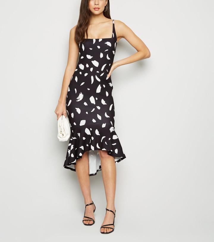 Thumbnail for your product : New Look Abstract Spot Dip Peplum Hem Midi Dress