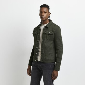 River Island Mens Dark Green muscle fit denim jacket