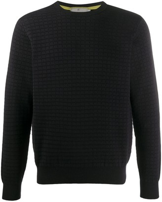 Canali Square-Pattern Knitted Jumper