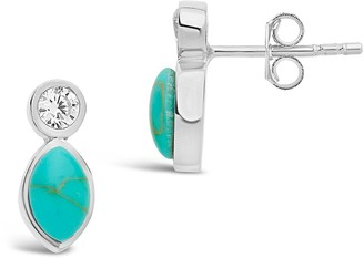 Sterling Forever Sterling Silver CZ & Simulated Turquoise Stud Earrings