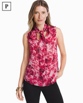 White House Black Market Petite Floral Tie-Front Shell Top