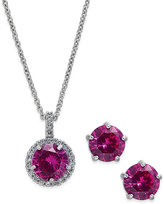Charter Club Silver-Tone Pink Stone Pendant Necklace and Stud Earrings Set, Only at Macy's