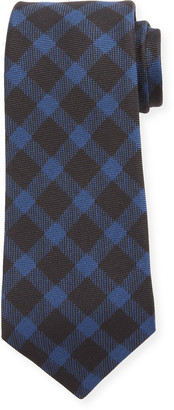 Kiton Gingham Check Silk Tie, Navy
