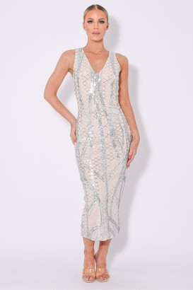 Nazz Collection Iconic Luxe Embellished Sequin Pencil Midi Dress