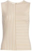 Akris Punto Patchwork Stripe Sleeveless Top