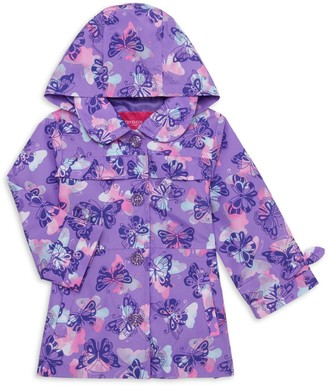 London Fog Baby Girl's Butterfly-Print Trench Coat