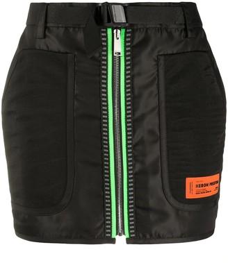 Heron Preston Black Neon Zip Mini Skirt