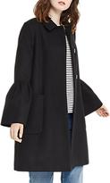 Oasis Kitty Frill Sleeve Coat, Black