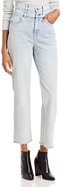 IRO Rosae Cotton High Rise Ankle Jeans in Light Blue Worn
