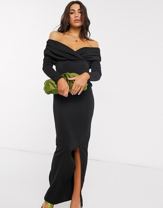 ASOS DESIGN scuba bardot ruched side long sleeve maxi dress in black