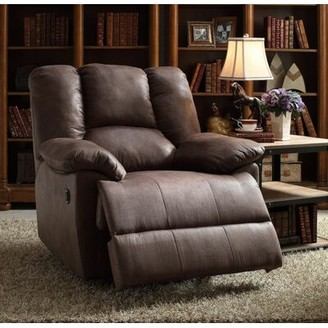 Hudson Winston Porter Oversized Manual Recliner Winston Porter Upholstery Color: Dark Brown Leather-Aire