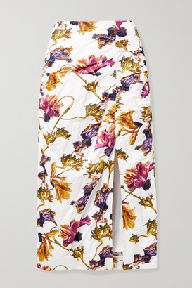 Jason Wu Collection Ruched Floral-print Washed-sateen Midi Skirt - White