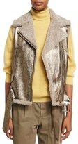Brunello Cucinelli Metallic Leather Shearling-Lined Moto Vest, Bronze