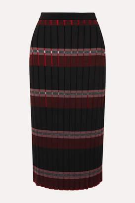 Marni Pleated Striped Knitted Midi Skirt - Black