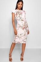 boohoo Floral Tie Waist Ruffle Detail Midi Dress