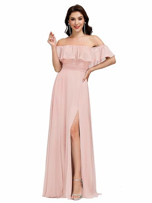 Ever Pretty Ever-Pretty Women's Off The Shoulder Elegant Empire Waist A-Line Chiffon Long Evening Downs Dresses with Thigh High Slit Pink 16UK