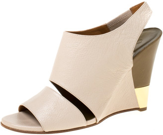 Chloé Beige Leather Eliza Wedge Slingback Sandals Size 39.5