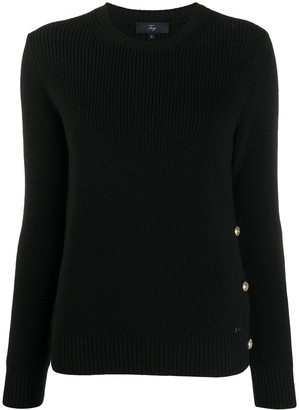 Fay Button-Detail Round Neck Sweater