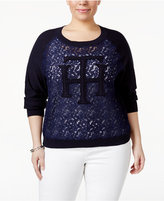 Tommy Hilfiger Plus Size Lace Logo Sweater