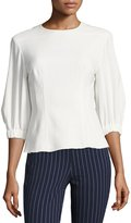 Tibi Back-Zip Three-Quarter Sleeves Twill Corset Top