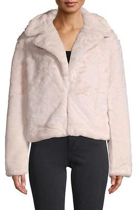Faux Fur-Trim Notch Lapel Jacket