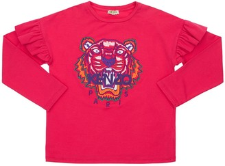 Kenzo Kids Tiger Embroidery Cotton Jersey T-Shirt