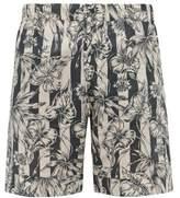 Desmond & Dempsey - Striped Foliage Print Cotton Poplin Pyjama Shorts - Mens - Blue Beige