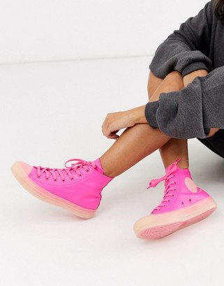 Converse Chuck Taylor Hi Leather Neon Pink Sneakers