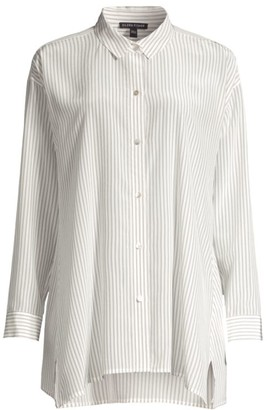 Eileen Fisher Striped Classic Collar Silk Swing Top