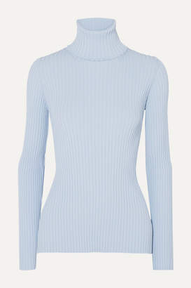 Proenza Schouler Button-detailed Ribbed-knit Turtleneck Sweater - Blue