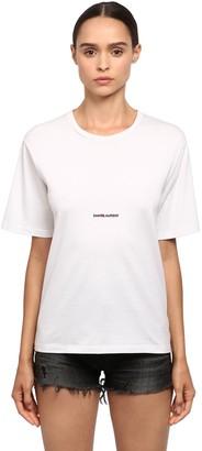 Saint Laurent Loose Logo Print Cotton Jersey T-shirt