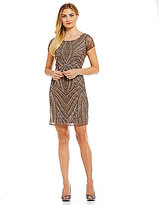 Adrianna Papell Sequin Cap Sleeve Sheath Dress
