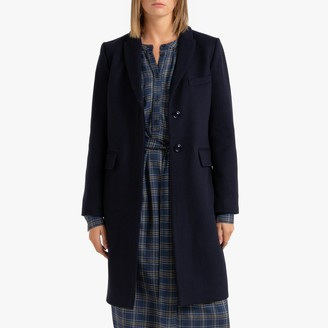 Benetton Wool Mix Mid-Length Coat with Single-Breasted Buttons and Pockets