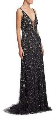 Jenny Packham Sleeveless V-Neck Crystal Star Gown
