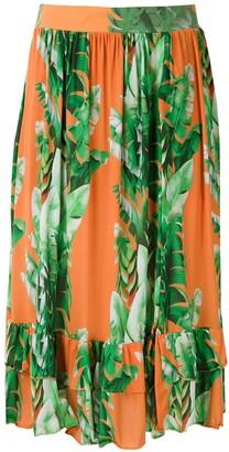 AMIR SLAMA Printed Ruffle Skirt