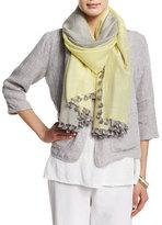 Eileen Fisher Wool/Silk Ikat Scarf w/ Pom-Poms