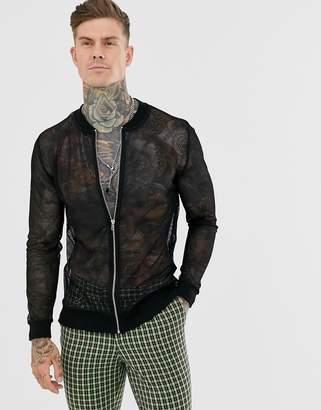 Asos Design DESIGN mesh bomber jacket in black