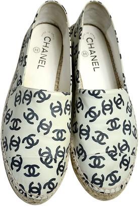 Chanel Ecru Leather Espadrilles