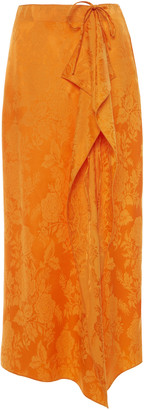 ATTICO Tie-Detailed Draped Satin-Jacquard Midi Skirt