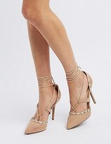 Charlotte Russe Studded Lace-Up D'Orsay Pumps