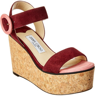 Jimmy Choo Abigail 100 Suede Wedge Sandal
