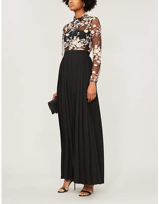 Self-Portrait Sequinned floral mesh and jersey maxi dress
