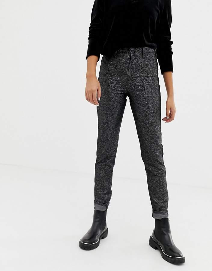 Cheap Monday black sparkley high waist jean with organic cotton