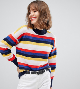 Esprit high neck lightweight sweater in multi stripe