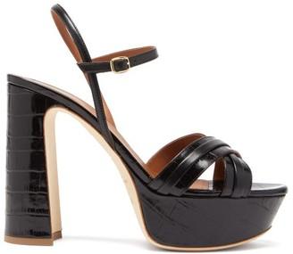 Malone Souliers Mila Crocodile-effect Leather Platform Sandals - Black