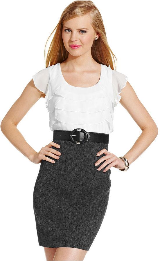 Amy Byer BCX Juniors Dress, Cap Sleeve Ruffled Belted