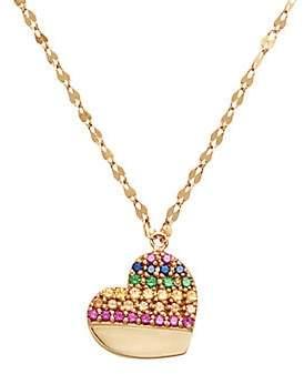 Lana Girl Women's 14K Yellow Gold & Multi-Color Sapphire Heart Pendant Necklace
