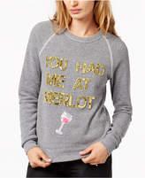 Bow & Drape You Had Me At Merlot Sequined Graphic Sweatshirt
